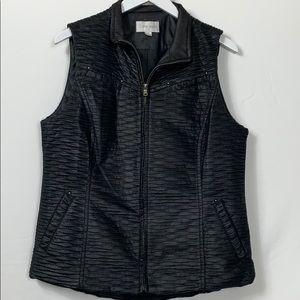 Erin London black full zipper vest size Med.